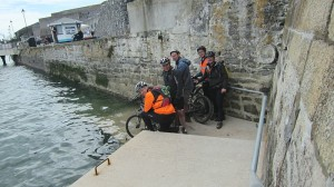 Bike dipping at the Mayflower steps in Plymouth