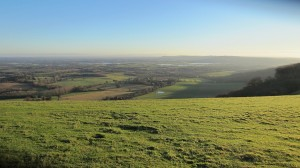 View towards Steyning and Truleigh Hill after all the recent heavy rain.