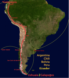 Rene & Miriam's South America ride route